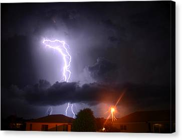 Lightning Strikes Canvas Print by Ronald T Williams