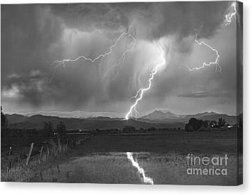 Lightning Striking Longs Peak Foothills 2bw Canvas Print by James BO  Insogna