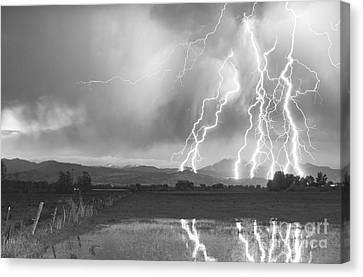 Lightning Striking Longs Peak Foothills 4bw Canvas Print by James BO  Insogna
