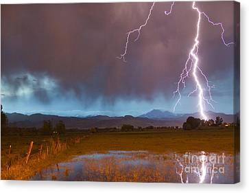 Lightning Striking Longs Peak Foothills 5 Canvas Print by James BO  Insogna
