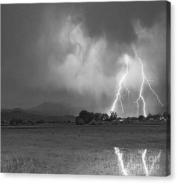 Lightning Striking Longs Peak Foothills 8cbw Canvas Print by James BO  Insogna