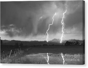 Lightning Striking Longs Peak Foothills Bw Canvas Print by James BO  Insogna
