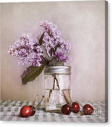 Lilac And Cherries Canvas Print by Priska Wettstein