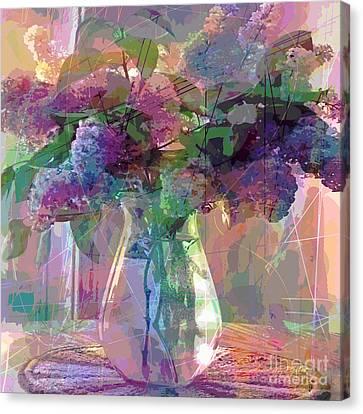 Lilac Cuttings Glass Vase Canvas Print by David Lloyd Glover
