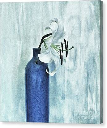 Lily In Blue Canvas Print by Marsha Heiken