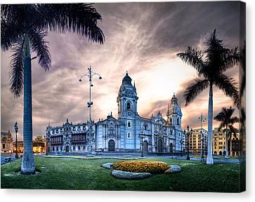 Lima Cathedral Canvas Print by Domingo Leiva