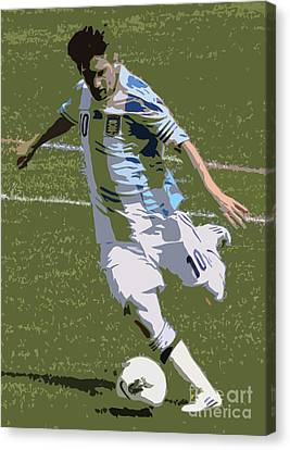 Lionel Messi Kicking II Canvas Print by Lee Dos Santos