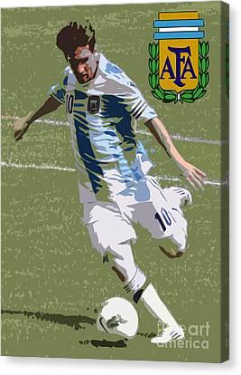 Lionel Messi Kicking Vi Canvas Print by Lee Dos Santos