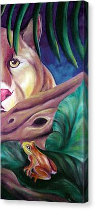 Lioness And Frog Canvas Print by Juliana Dube
