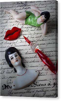 Lips Pen And Old Letter Canvas Print by Garry Gay