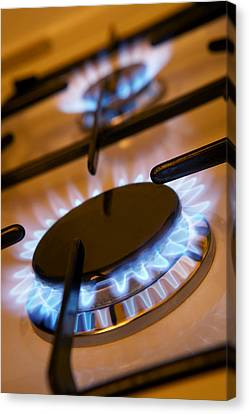 Lit Gas Rings Canvas Print by Mark Sykes