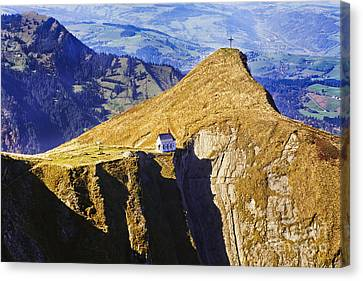 Little Chapel On The Mountain Canvas Print by George Oze