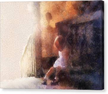 Little Girl Thinking Canvas Print by Nora Martinez