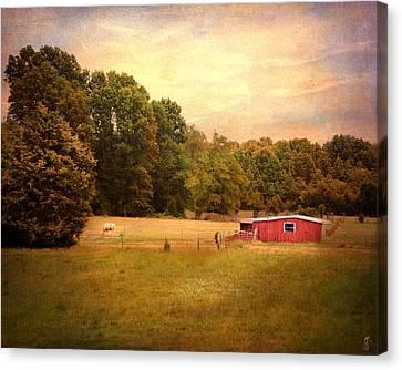 Little Red Barn Canvas Print by Jai Johnson
