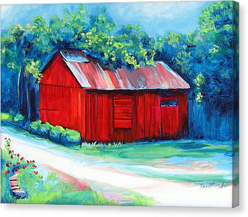 Little Red Barn Canvas Print by Janet Oh