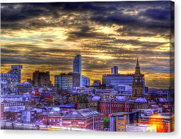 Liverpool At Nite Canvas Print by Barry R Jones Jr