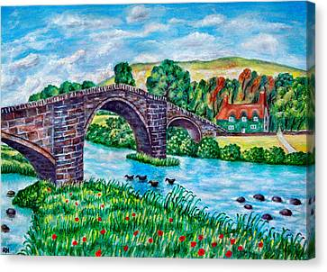 Llanrwst Bridge - Wales Canvas Print by Ronald Haber