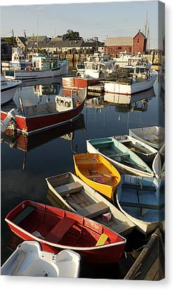 Lobster Fishing Boats And Row Boats Canvas Print by Tim Laman