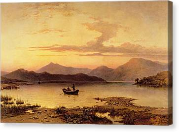 Loch Etive From Bonawe In The Evening Canvas Print by George Edwards Hering