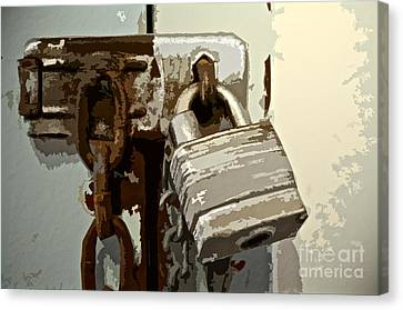 Lock And Chain Canvas Print by Gwyn Newcombe