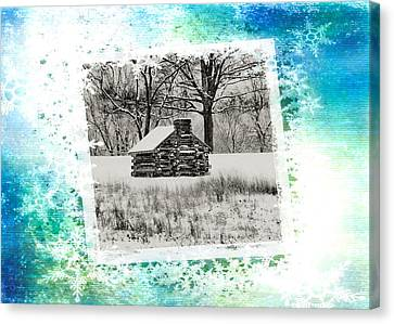 Log Cabin Christmas Card Canvas Print by Bill Cannon