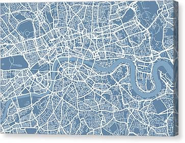London Map Art Steel Blue Canvas Print by Michael Tompsett
