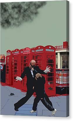 London Matrix Punching Mr Smith Canvas Print by Jasna Buncic