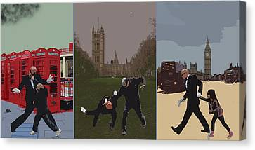 London Matrix Triptych Canvas Print by Jasna Buncic