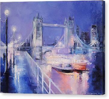 London Night Canvas Print by Nelya Shenklyarska