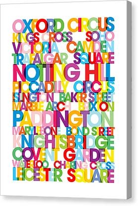 London Text Bus Blind Canvas Print by Michael Tompsett