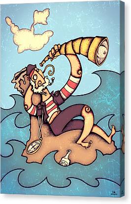 Lonely Pirate Canvas Print by Autogiro Illustration