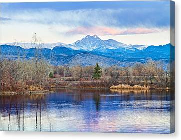 Longs Peak And Mt Meeker Sunrise At Golden Ponds Canvas Print by James BO  Insogna