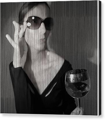 Loren With Wine Canvas Print by Naxart Studio