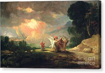 Lot Fleeing From Sodom Canvas Print by Benjamin West