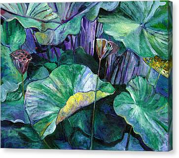 Lotus Pond Canvas Print by Carol Mangano
