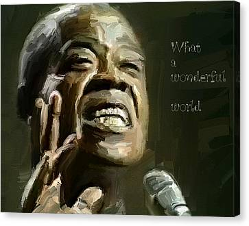 Louis Armstrong Wonderful World Canvas Print by Yury Malkov
