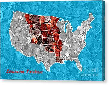 Louisiana Purchase Coin Map . V2 Canvas Print by Wingsdomain Art and Photography
