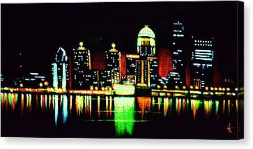 Louisville In Black Light Canvas Print by Thomas Kolendra