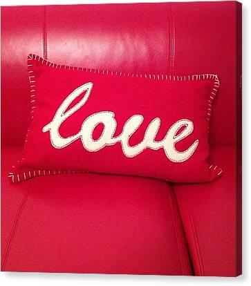 #love #cushion #sofa #red #leather Canvas Print by Joe Trethewey