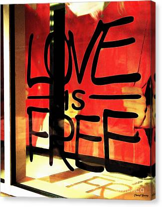 Love Is Free Canvas Print by Cheryl Young