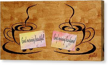 Love Morning Coffee Canvas Print by Georgeta  Blanaru
