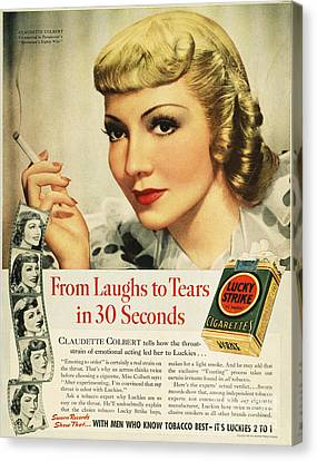 Luckys Cigarette Ad, 1938 Canvas Print by Granger
