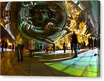 Luminous Light Show Under The Bean Canvas Print by Sven Brogren