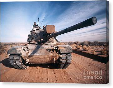 M-60 Battle Tank In Motion Canvas Print by Stocktrek Images