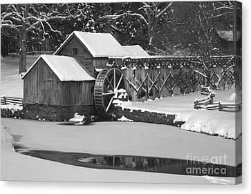 Mabry Mill In Black And White Canvas Print by Joe Elliott