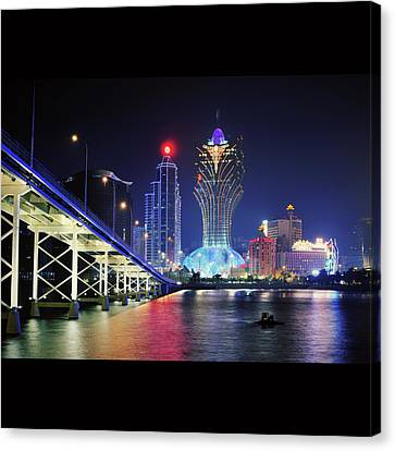 Macau City At Night Canvas Print by Thank you for choosing my work.