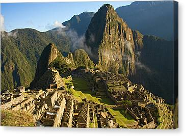 Machu Picchu And Fog In Morning Canvas Print by Matt Champlin