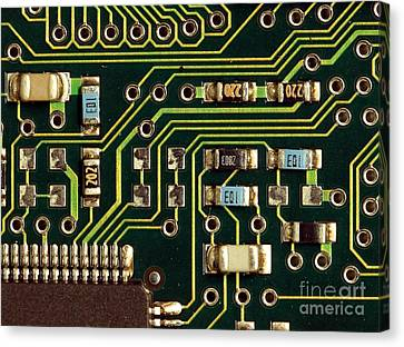 Macro View Of A Computer Motherboard Canvas Print by Yali Shi