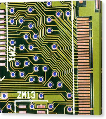 Macrophotograph Of Printed Circuit Board Canvas Print by Dr Jeremy Burgess