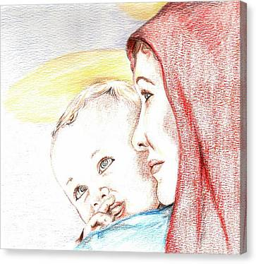 Madonna And Baby Jesus Canvas Print by Denny Phillips
